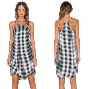 1. STATE Gingham Rich Black Cut Out Slip Dress szM